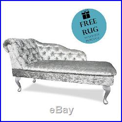 Crushed Velvet Silver Tufted Chaise Lounge Sofa Elegant Bedroom Accent Chair