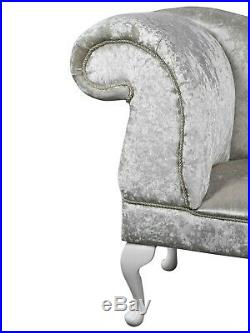 Crushed Velvet White Chaise Lounge Sofa Accent Chair Elegant Bedroom Style Suit