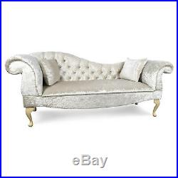 Crushed White Velvet Tufted Chaise Lounge Sofa Lounger Classic Button Style