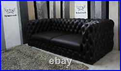 Deep Buttoned Chesterfield 4 Seater Black Genuine Leather Sofa other colours