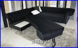 Deep Buttoned Chesterfield Corner Sofa Bed Colours +
