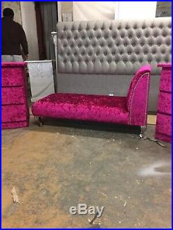 Deluxe Purple Velvet Chaise Longue Lounge Sofa Day Bed With Chrome Legs New