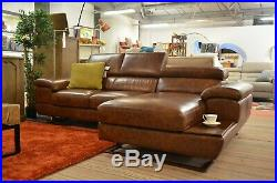 Designer Chaise Sofa Brown Italian Leather Corner Settee Made in ITALY NOT CHINA
