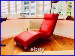 Designer Red Leather Chaise Longue Lounge Chair from Roche-Bobois by Escapade