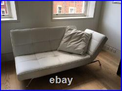 Designer White Leather Chaise Longue / Sofa Bed-made by Line Roset Smala