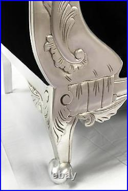 Designers Silver Black Ornate French Velvet Chaise Longue Sofa With Crystals