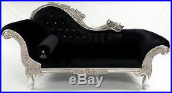 Designers Silvered Black Ornate French Velvet Chaise Longue Sofa Crystals Option
