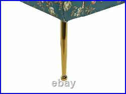 Double Ended Chaise Lounge Tufted Upholstery Floral Pattern Blue Nantilly
