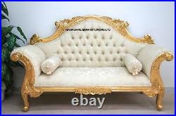 Double Ended Gold & IVORY French Louis Ornate Chaise Longue Sofa Home Wedding