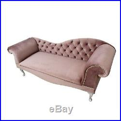 Dusty Pink Velvet Tufted Chaise Lounge Sofa Lounger Chesterfield Style Accent