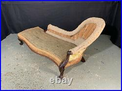 EB1110 Antique Rosewood Stripped Chaise Longue Vintage Lounge for Reupholstery