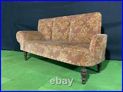 EB1162 Danish Pink Patterened Velour High-Backed Chaise Longue Vintage Lounge