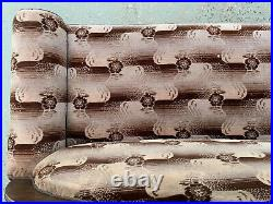 EB1465 Danish Brown Patterned Velour High-Backed Chaise Longue Vintage Lounge