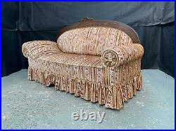 EB1484 Beige Striped Velour High-Backed Chaise Longue Vintage Lounge Retro