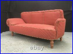 EB966 Pink Patterned Fabric Chaise Longue Vintage Lounge Seating Retro