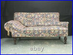 EB995 Blue Patterned Fabric High-Backed Chaise Longue Vintage Lounge Seating
