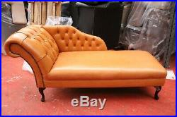 EX-DISPLAY Chesterfield Chaise Lounge Tan Premium Real Leather Handmade In UK