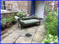 Edwardian beech wood scroll end chaise longue or sofa in green dralon