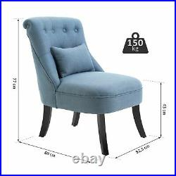 Elegant Accent Chair Cushioned Linen Seat Tufted Back Pillow Chaise Lounge Blue