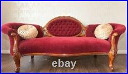Exquisite 1850s Antique Chaise Lounge Red Velvet Tufted Straw Upholstery Project