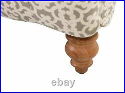 Fabric Chaise Lounge Chesterfield Buttoned Moroccan Pattern Grey Beige Muret