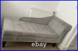 Fabric Chaise Lounge Velvet In Light Grey Only £170