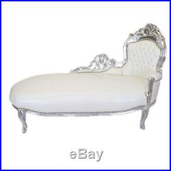 France Baroque Style Chaise Lounge Silver / White # F8mb2.00
