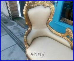 French Baroque Style Chaise Lounge Gold Frame Gold Fabric