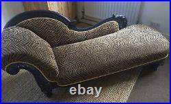 French Louis Style Large Antique Faux Zebra Skin Chaise Longue Lounge Sofa
