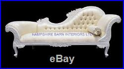 French Louis Style Large Antique White & Ivory Cream Chaise Longue Sofa Crystal
