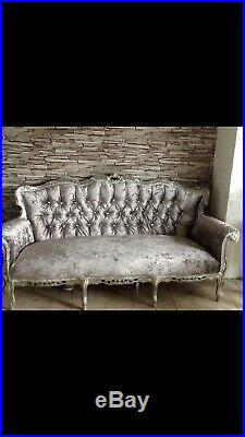 French Louis Style Sofa Chaise In Crush Velvet