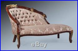 French Part Gold Leaf Mocha Ornate Chaise Longue Lounge Sofa Loveseat Day Bed