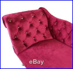 Fuchsia Pink Velvet Chesterfield Tufted Chaise Lounge Sofa Bedroom Accent Chair