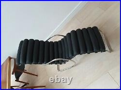 Genuine Black Leather and Chrome Chaise Longue Recliner Retro Classic