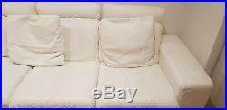 Genuine Real Leather Ivory White Sofa with Chaise Longue, Chair & Foot Stool