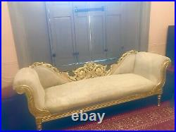 Gothic Wedding Seat Gold Antique French Sofa Chaise Longue Double Back Louis XV