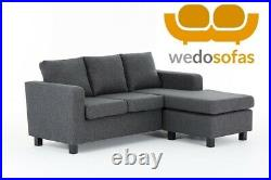 Grey Chaise Sofa Reversible Corner in Fabric Grey FREE NEXT DAY DELIVERY