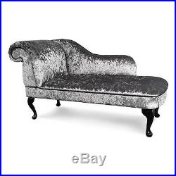 Grey Crushed Velvet Chaise Lounge Sofa Chair Elegant Lounger Bedroom Style