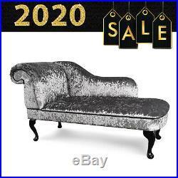 Grey Crushed Velvet Chaise Lounge Sofa Chair Elegant Lounger Bedroom Style Suite