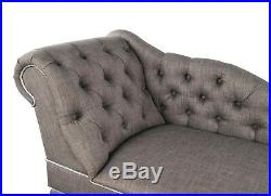 Grey Fabric Tufted Button Chaise Lounge Occasional Sofa Chair Bedroom Furniture