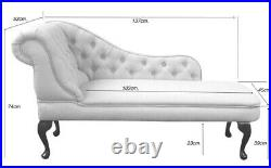 Grey Linen Tufted Chesterfield Chaise Lounge Sofa Bedroom Accent Chair Bench