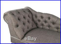 Grey Tufted Chesterfield Chaise Lounge Sofa Bedroom Accent Chair Bench