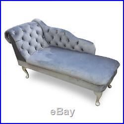 Grey Velvet Chaise Lounge Sofa Accent Chair Elegant Lounger Bedroom Style Suite