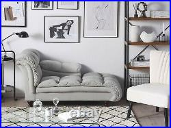 Grey Velvet Chaise Lounge with Wooden Feet Clearance Price