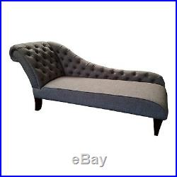 Grey Wool Tufted Chesterfield Chaise Lounge Sofa Bedroom Accent Chair Bench SALE