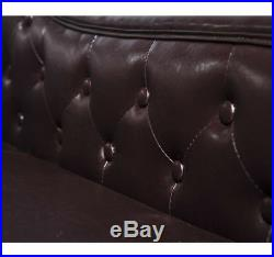 HOMCOM Vintage Faux Leather Chaise Longue Lounge Bolster Cushion Sofa Bed