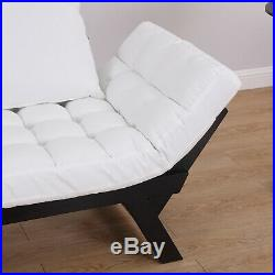 HOMCOM Wooden Fabric Sofa Bed Couch 2 Seater armchair adjustable Cream White