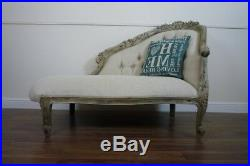 Handmade French Boudoir Chaise Lounge In A Weathered Oak Finish