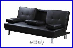 Hot Sale Black Faux Leather 2 / 3 Seater Small Sofa Bed Modern Click Clack
