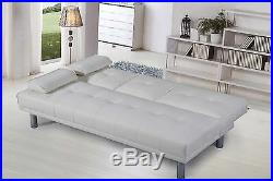 Hot Sale White Faux Leather 2 / 3 Seater Small Sofa Bed Modern Click Clack